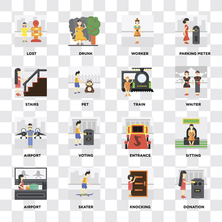 Set Of 16 icons such as Donation, Knocking, Skater, Airport, Sitting, Lost, Stairs, Train on transparent background, pixel perfect