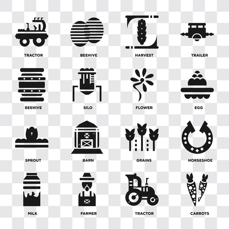 Set Of 16 icons such as Carrots, Tractor, Farmer, Milk, Horseshoe, Beehive, Sprout, Flower on transparent background, pixel perfect