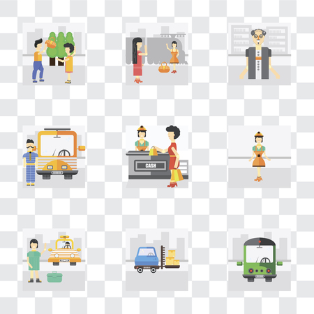 Set Of 9 simple transparency icons such as Public transport, Delivery man, Cab, Worker, Shopping, Driver, Scholar, Goodbye, Helping, can be used for mobile, pixel perfect vector icon pack on