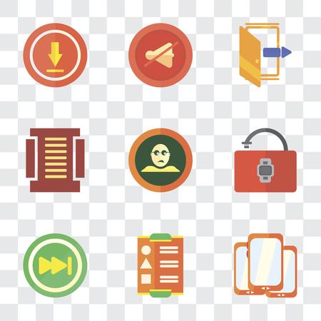 Conjunto de 9 iconos de transparencia simple como Smartphone, Menú, Omitir, Desbloqueado, No me gusta, Salir, Silenciar, Cargar, se puede utilizar para dispositivos móviles, paquete de iconos vectoriales perfectos de píxeles sobre fondo transparente