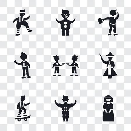 Conjunto de 9 iconos de transparencia simple como monja, hombre musculoso mostrando sus músculos, niño con patineta, figura de Napoleón, gángsters, hombre de negocios tumbado, hombre caminando por el viento, bebé