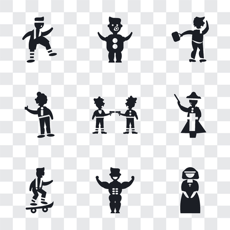 Set Of 9 simple transparency icons such as Nun, Muscular man showing his muscles, Boy with skatingboard, Napoleon figure, Gangsters, Tumb up business man, Man Walking Through the Wind, Baby