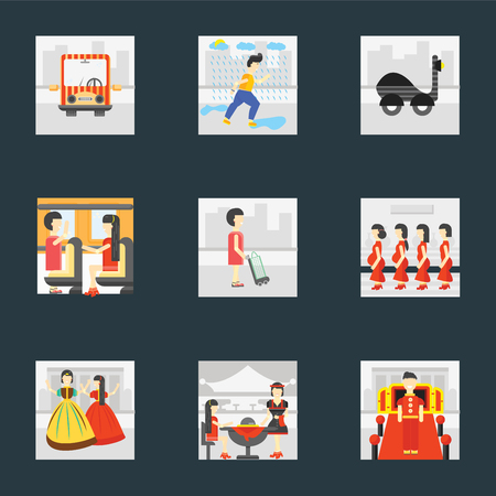 Set Of 9 simple icons such as Doorman, Waiter, Playing, Pregnant priority, Shopper, Public transport, Scooter, Raining, can be used for mobile, pixel perfect vector icon pack on