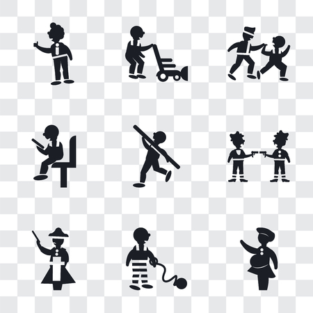 Set Of 9 simple transparency icons such as Woman covering, War prisioner, Napoleon figure, Gangsters, Shot Put, Sitting man reading, Two Men Practicing Karate, Person mowing the grass, Tumb up