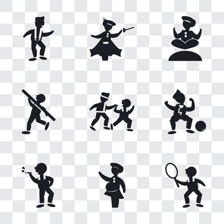 Ensemble de 9 icônes de transparence simples telles que joueur de tennis, femme couvrant, homme fumeur, joueur de football numéro quatre, deux hommes pratiquant le karaté, lancer du poids, homme faisant du yoga, escrime médiévale, danse,