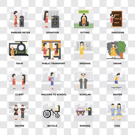 Ensemble de 16 icônes telles que Enfants, Parking, Vélo, Serveur, Patineur, Parcmètre, Train, Client, Fumer sur fond transparent, pixel parfait Vecteurs