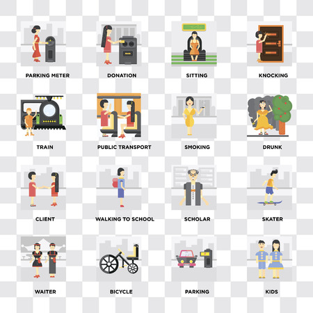 Set Of 16 icons such as Kids, Parking, Bicycle, Waiter, Skater, Parking meter, Train, Client, Smoking on transparent background, pixel perfect
