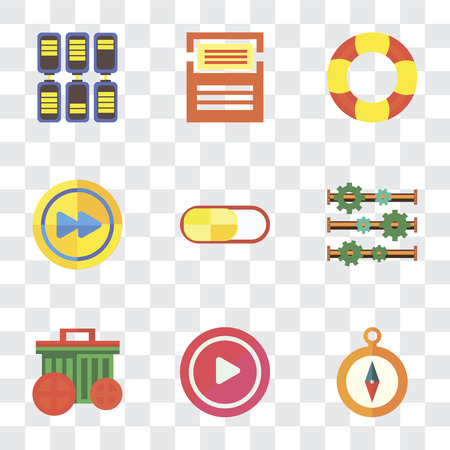 Set Of 9 simple transparency icons such as Compass, Play, Garbage, Settings, Switch, Fast forward, Help, Folder, Battery, can be used for mobile, pixel perfect vector icon pack on transparent