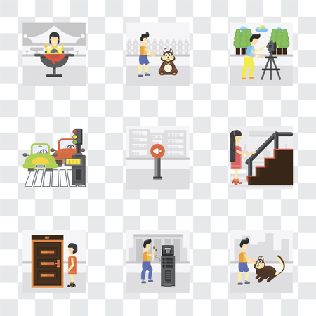 Set Of 9 simple transparency icons such as Walking the dog, Public phone, Exit, Stairs, Silence, Pedestrian, Photo, Pet, Eating, can be used for mobile, pixel perfect vector icon pack on transparent