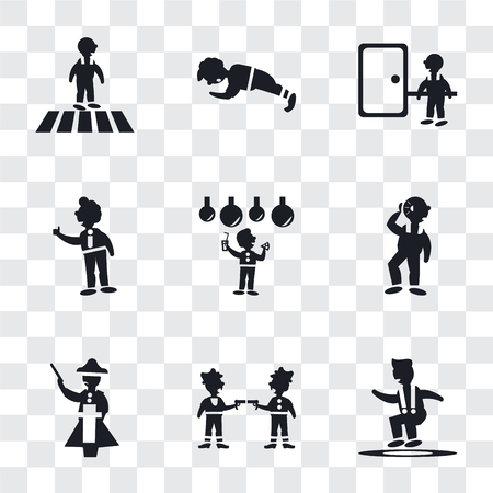 Set Of 9 simple transparency icons such as Jumping Man, Gangsters, Napoleon figure, Man Hearing, Celebrating, Tumb up business man, knocking a door, doing pushups, Crossing Road, can be