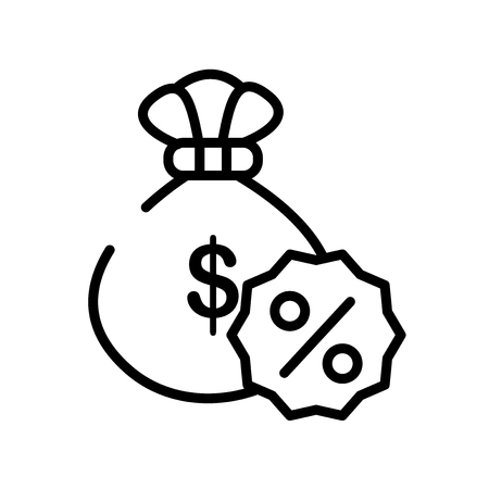 Money bag icon vector isolated on white background, Money bag transparent sign , line symbol or linear element design in outline style Reklamní fotografie - 111748606
