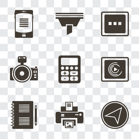 Set Of 9 simple transparency icons such as Paper plane, Print, Notepad, Music player, Calculator, Photo camera, More, Funnel, Smartphone, can be used for mobile, pixel perfect vector icon pack on Ilustração
