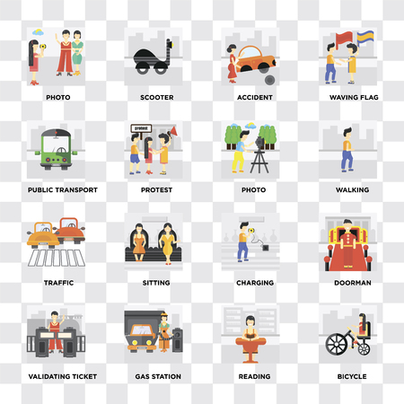 Set Of 16 icons such as Bicycle, Reading, Gas station, Validating ticket, Doorman, Photo, Public transport, Traffic on transparent background, pixel perfect