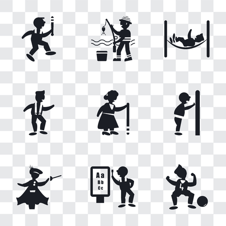 Set Of 9 simple transparency icons such as Soccer player number four, Ophthalmologist examination, Medieval fencing, Man pushing a door with his body, Old Lady walking, dancing, hammock relaxing,