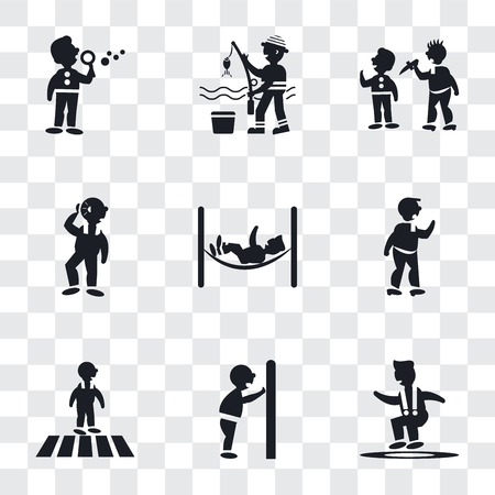 Set Of 9 simple transparency icons such as Jumping Man, Man pushing a door with his body, Crossing Road, Punching, hammock relaxing, Hearing, attacking, Fisher fishing, making soap