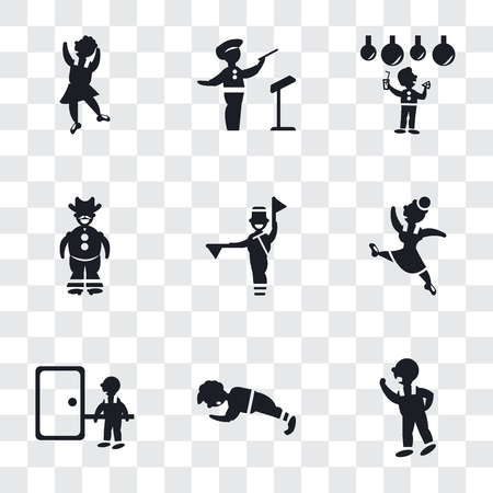 Set Of 9 simple transparency icons such as Man Threating with his Fist, doing pushups, knocking a door, Gymnast Girl, Flag semaphore language, Cowboy gun, Celebrating, Orchestra
