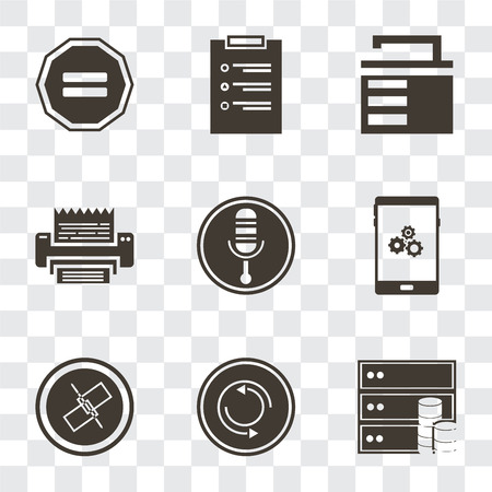 Set Of 9 simple transparency icons such as Database, Repeat, Unlink, Smartphone, Microphone, Fax, Unlocked, List, Equal, can be used for mobile, pixel perfect vector icon pack on transparent Illustration