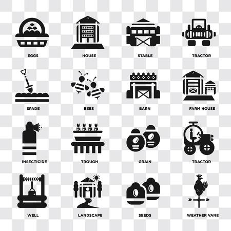 Ensemble de 16 icônes telles que girouette, graines, paysage, puits, tracteur, oeufs, bêche, insecticide, grange sur fond transparent, pixel parfait Vecteurs