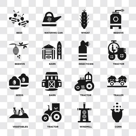 Set di 16 icone come mais, mulino a vento, trattore, verdure, rimorchio, api, alveare, semi, insetticida su sfondo trasparente, pixel perfetto
