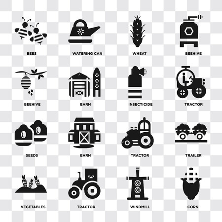 Set Of 16 icons such as Corn, Windmill, Tractor, Vegetables, Trailer, Bees, Beehive, Seeds, Insecticide on transparent background, pixel perfect Vettoriali