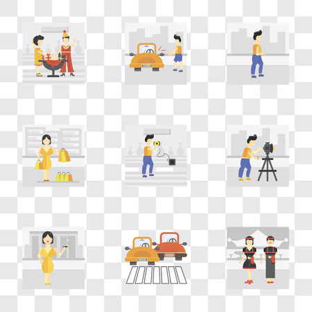 Set Of 9 simple transparency icons such as Waiter, Traffic, Smoking, Photography, Charging, Shopper, Walking, Locked car, Party, can be used for mobile, pixel perfect vector icon pack on transparent