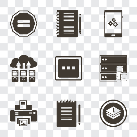 Set Of 9 simple transparency icons such as Layers, Notepad, Print, Database, More, Cloud computing, Smartphone, Equal, can be used for mobile, pixel perfect vector icon pack on transparent Stock Illustratie