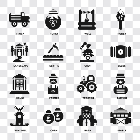 Set Of 16 icons such as Stable, Barn, Corn, Windmill, Farmer, Truck, Landscape, house, Chop on transparent background, pixel perfect