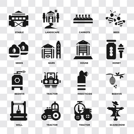 Set Of 16 icons such as Scarecrow, Tractor, Well, Beehive, Stable, Seeds, house on transparent background, pixel perfect Illustration