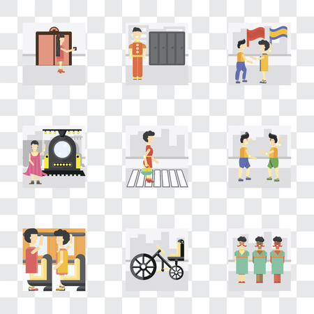 Set Of 9 simple transparency icons such as Bicycle, Occupant, Fighting, Pedestrian, Train, Waving flag, Lockers, Elevator, can be used for mobile, pixel perfect vector icon pack on transparent