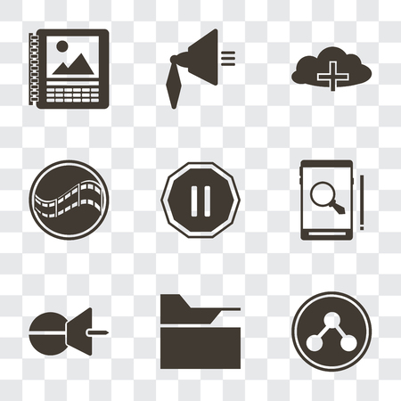 Set Of 9 simple transparency icons such as Share, Folder, Push pin, Smartphone, Pause, Film, Cloud computing, Speaker, Calendar, can be used for mobile, pixel perfect vector icon pack on transparent