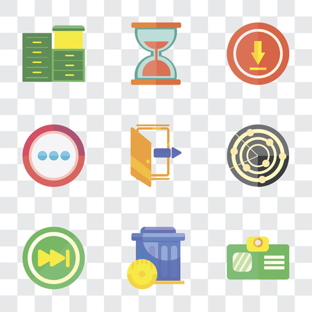 Set Of 9 simple transparency icons such as Id card, Trash, Skip, Radar, Exit, More, Upload, Hourglass, Archive, can be used for mobile, pixel perfect vector icon pack on transparent background