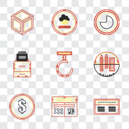 Set Of 9 simple transparency icons such as Banker, Calendar, Dollar, School material, Hook, Office Circular graphic, Boss, Packing, can be used for mobile, pixel perfect vector icon pack on