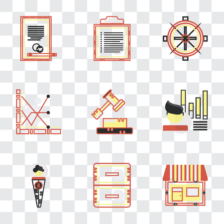 Set Of 9 simple transparency icons such as On, Office material, Businessman, Stats, Decree, Sailing boat, Text, Agreement, can be used for mobile, pixel perfect vector icon pack on transparent