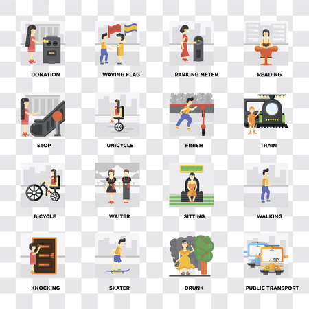 Set Of 16 icons such as Public transport, Drunk, Skater, Knocking, Walking, Donation, Stop, Bicycle, Finish on transparent background, pixel perfect