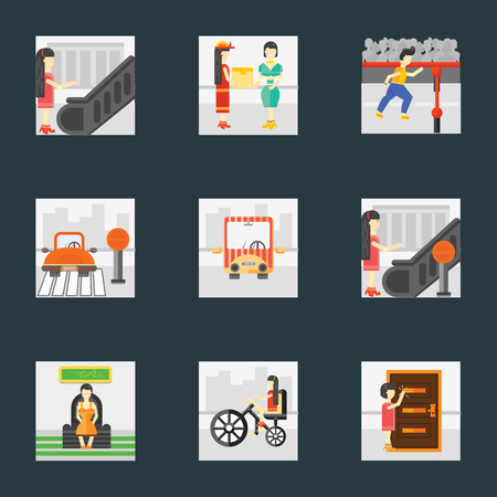 Set Of 9 simple icons such as Knocking, Bicycle, Sitting, Stop, Public transport, Finish, Courier, Escalator, can be used for mobile, pixel perfect vector icon pack on black background Illustration