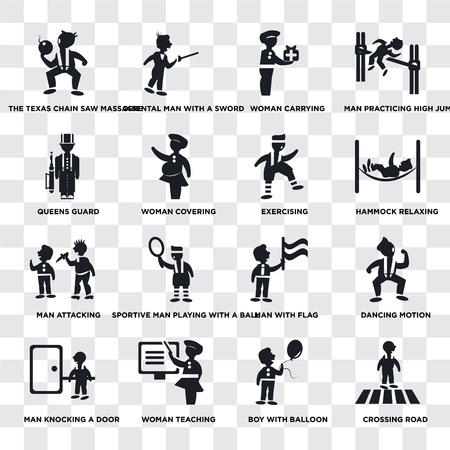 Set Of 16 transparent icons such as Crossing Road, Woman covering, Teaching, Man knocking a door, Dancing Motion, practicing high jump, web UI icon pack, pixel perfect