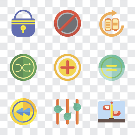 Set Of 9 simple transparency icons such as Street, Volume control, Rewind, Equal, Add, Shuffle, Battery, Forbidden, Locked, can be used for mobile, pixel perfect vector icon pack on transparent 写真素材 - 111748907