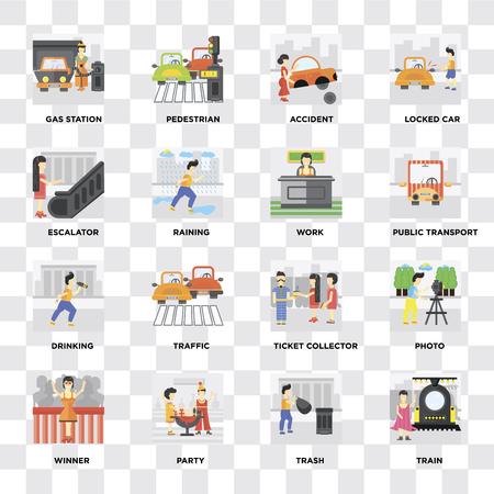 Satz von 16 Symbolen wie Zug, Müll, Party, Gewinner, Foto, Tankstelle, Rolltreppe, Trinken, Arbeit auf transparentem Hintergrund, Pixel perfekt Vektorgrafik