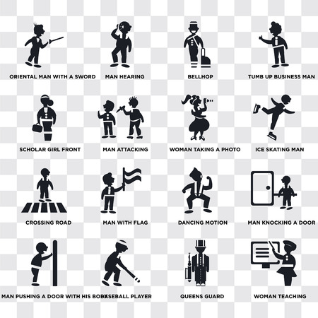 Set Of 16 transparent icons such as Woman Teaching, Queens Guard, Baseball Player, Man pushing a door with his body, Scholar girl front, web UI icon pack, pixel perfect