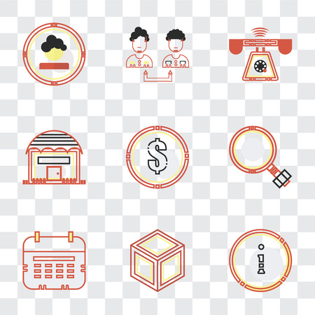 Set Of 9 simple transparency icons such as Customer service, Packing, Wall calendar, Growth, Dollar, Shopping store, Ringing, Collaboration, Boss, can be used for mobile, pixel perfect vector icon