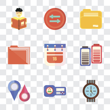 Set Of 9 simple transparency icons such as Clock, Id card, Placeholders, Battery, Calendar, Folder, Controls, Reading, can be used for mobile, pixel perfect vector icon pack on transparent Vectores