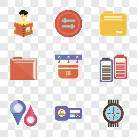 Conjunto de 9 iconos de transparencia simple como reloj, tarjeta de identificación, marcadores de posición, batería, calendario, carpeta, controles, lectura, se puede utilizar para dispositivos móviles, paquete de iconos de vector perfecto de píxeles en transparente Ilustración de vector