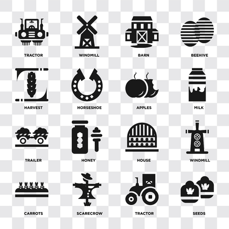 Set Of 16 icons such as Seeds, Tractor, Scarecrow, Carrots, Windmill, Harvest, Trailer, Apples on transparent background, pixel perfect