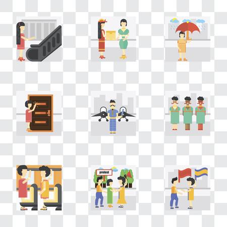 Ensemble de 9 icônes de transparence simples telles que drapeau ondulant, manifestant, occupant, aéroport, frapper, pleuvoir, courrier, escalator, peut être utilisé pour mobile, pack d'icônes de vecteur parfait pixel sur transparent