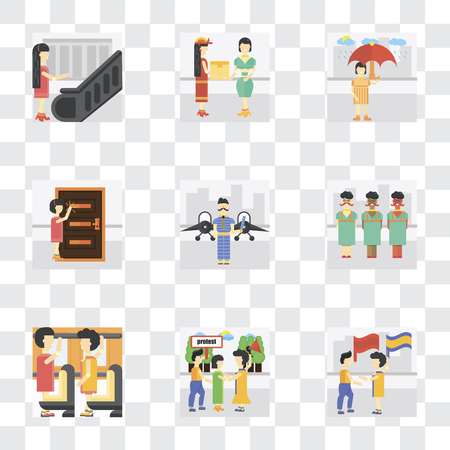 Set Of 9 simple transparency icons such as Waving flag, Protester, Occupant, Airport, Knocking, Raining, Courier, Escalator, can be used for mobile, pixel perfect vector icon pack on transparent