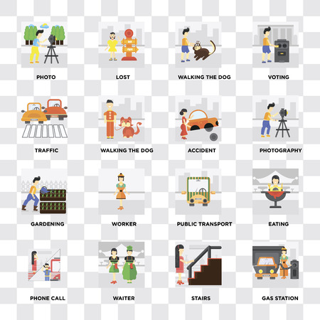 Set Of 16 icons such as Gas station, Stairs, Waiter, Phone call, Eating, Photo, Traffic, Gardening, Accident on transparent background, pixel perfect