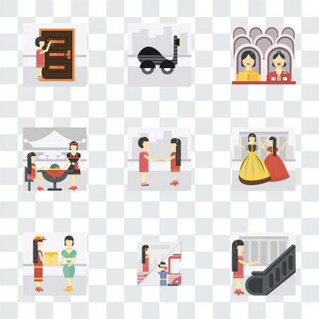 Set Of 9 simple transparency icons such as Escalator, Phone call, Courier, Playing, Client, Waiter, Cinema, Scooter, Knocking, can be used for mobile, pixel perfect vector icon pack on transparent