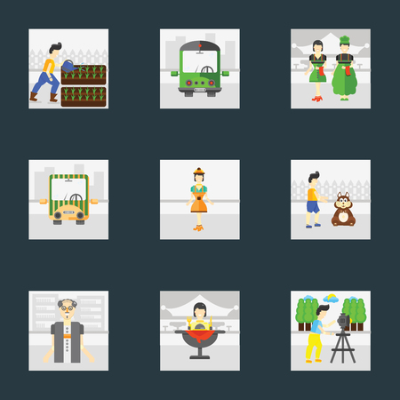 Set Of 9 simple icons such as Photo, Eating, Scholar, Pet, Worker, Public transport, Waiter, Gardening, can be used for mobile, pixel perfect vector icon pack on black background
