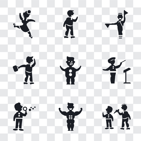 Set Of 9 simple transparency icons such as Man attacking, Muscular man showing his muscles, making soap bubbles, Orchestra director, Baby with Diaper, Walking Through the Wind, Flag semaphore