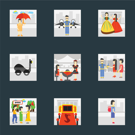 Set Of 9 simple icons such as Walking to school, Entrance, Protester, Ticket collector, Waiter, Scooter, Playing, Airport, Raining, can be used for mobile, pixel perfect vector icon pack on black